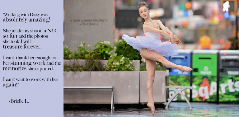 portrait of a ballet dancer in times square manhattan