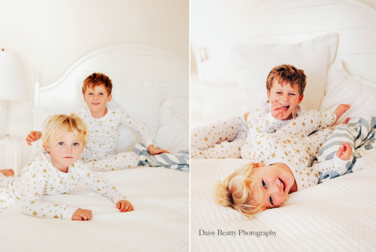 portrait of young brothers on a bed in fairfield county ct by daisy beatty
