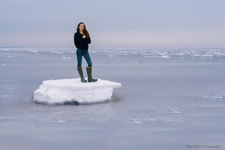 girl standing on iceberg in east hampton