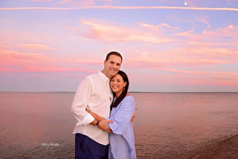 vibrant portrait of a couple at sunset in old greenwich CT by daisy beatty photography