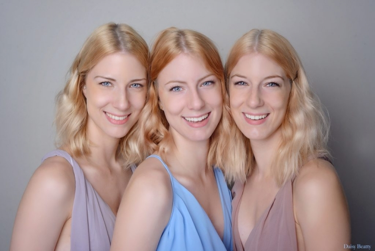 professional studio portrait of sisters in nyc by daisy beatty photography