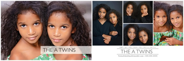 Twin models pose for their comp card by Daisy Beatty