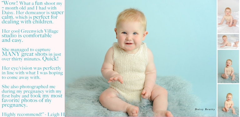 mini studio shoot of a 7 month old baby in nyc