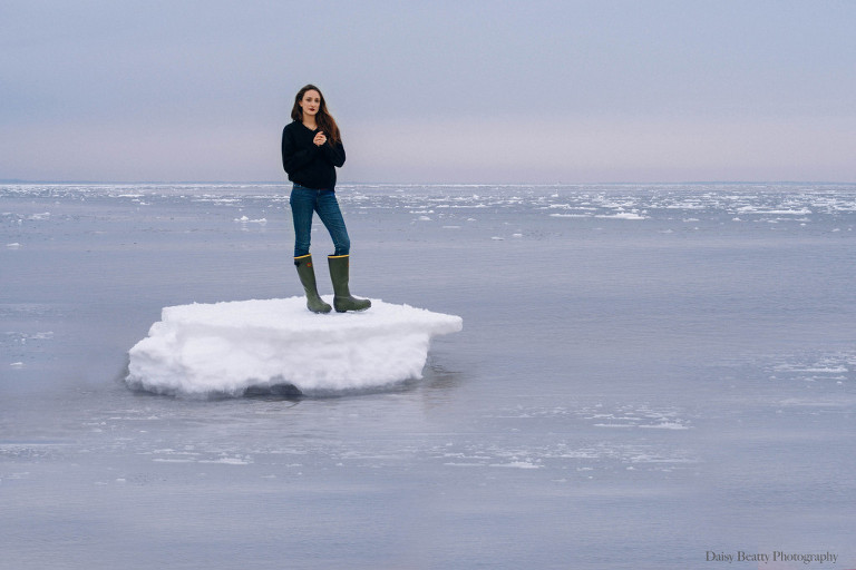 girl standing on iceberg in east hampton