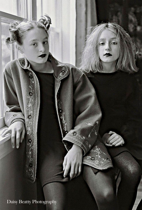 black and white portrait of two girls in black lipstick by daisy beatty photography