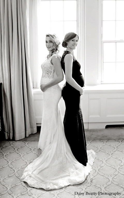 portrait of pregnant twins at the pierre hotel by daisy beatty