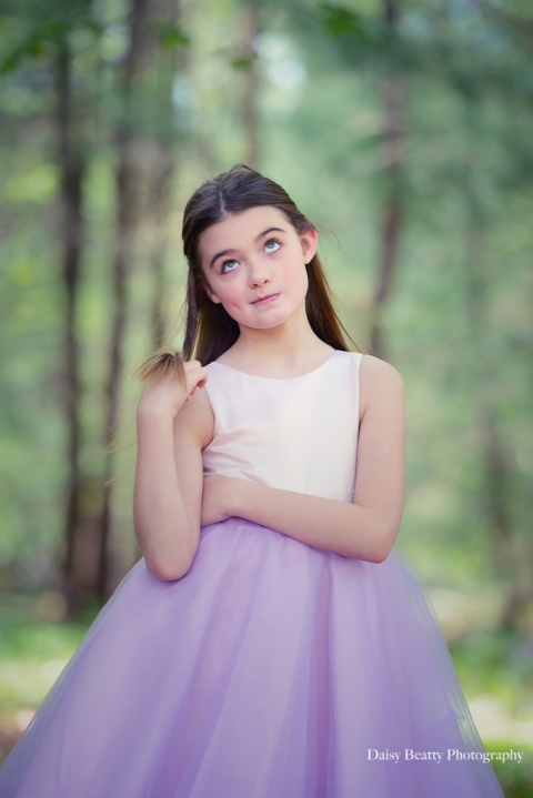 portrait of a beautiful girl in a party dress by nyc family photographer daisy beatty