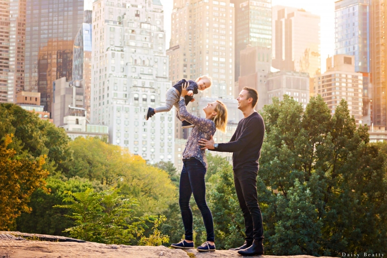 family photo session in central park with fall colors by daisy beatty