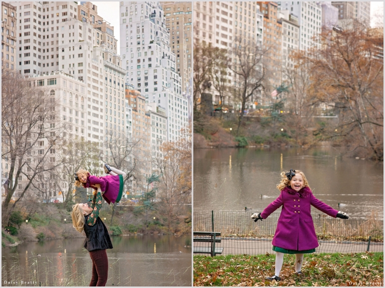 little girl in a beatuiful winter coat in central park by daisy beatty photography