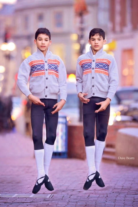 portrait of identical twin boy ballet dancers in harvard square cambridge by daisy beatty photography