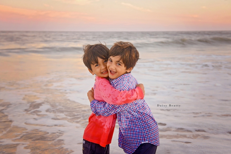 family beach portraits at sunset in east hampton ny