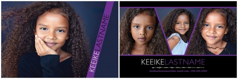 Professional comp cards done in New York City by kid photographer Daisy Beatty