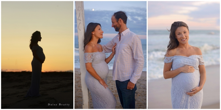 Maternity photographer Daisy beatty shoots family portraits at sunset at the beach in the Hamptons.
