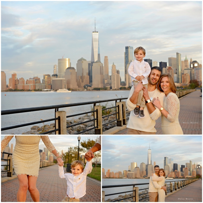 Family shoots by the water in hoboken, new jersey with family photographer daisy beatty.
