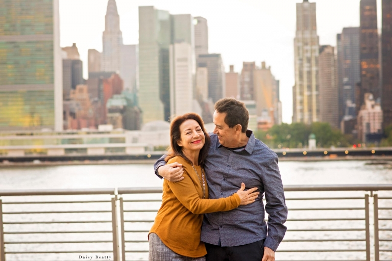 beautiful couple at a long island city sunset photo session