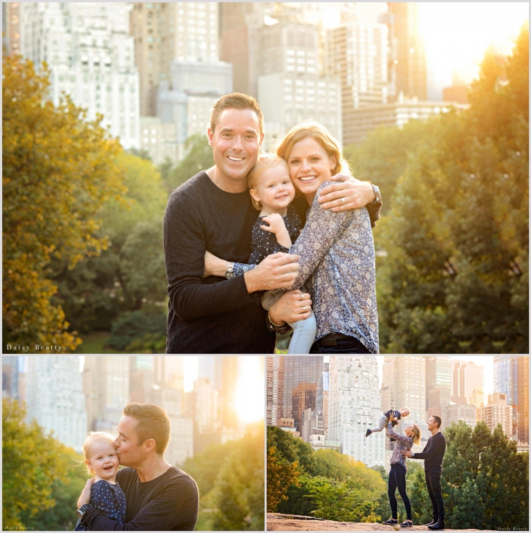 central park family photography with a toddler at golden hour