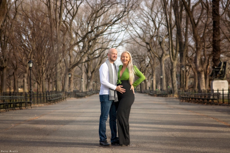 a maternity session in central park in january