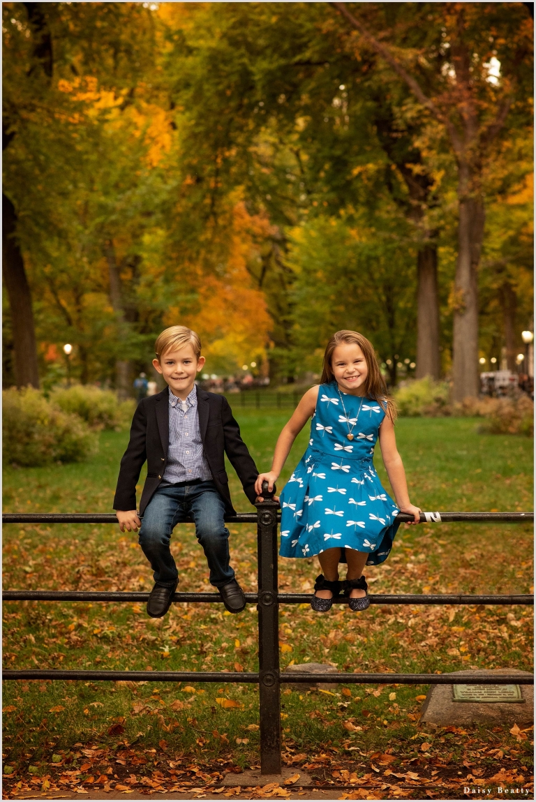 family photos in central park in fall